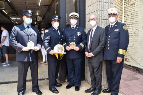 Town of Kearny Holds Swearing-in Ceremony for Newly Promoted Fire Chief, Deputy Chief and Captain